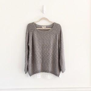 Monteau Gray Sheer Lace Ruffle Back Sweater